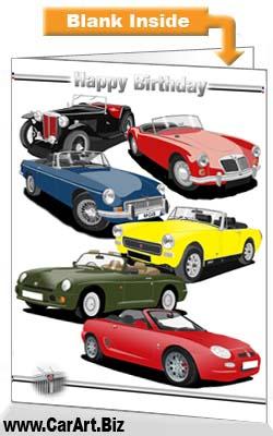 Classic MG Cars Birthday Card