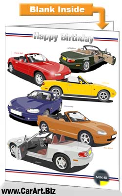 Classic Mazda Mx 5 Cars Birthday Card From Fine Lines